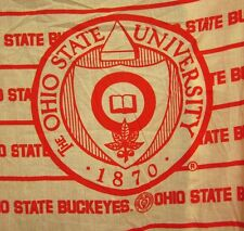 OHIO STATE Buckeyes vtg fitted sheet OSU school seal University beat-up 1980s
