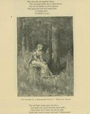 ANTIQUE VICTORIAN WOMAN MAN TWO LOVERS BY A MOSS GROWN SPRING MEADOW ART PRINT