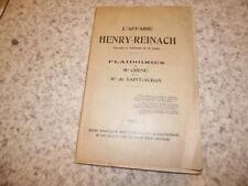1902.L'affaire Henry-Reinach devant le tribunal de la Seine.Plaidoiries .xx