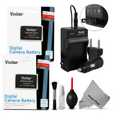 2 Pack Vivitar LP-E12 Battery 1275mAh + Charger for Canon REBEL SL1 EOS M 100D
