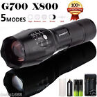G700 4000LM T6 LED Zoom Flashlight X800 Tactical Torch Lamp Battery Charger Lot