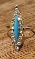 VICTORIAN TURQUOISE DIAMOND PASTE NAVETTE 9ct 9k ROSE GOLD RING  7 ANTIQUE