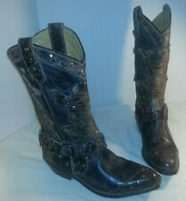 NEW WOMENS BED STU BROWN RUBIC PIECED LEATHER COWBOY BOOTS WESTERN SIZE US 7