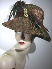 DONNA VINCI COUTURE Hat Wool Brocade Fabric Peacock Feathers EXCELLENT