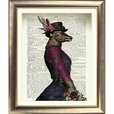 ART PRINT ON ORIGINAL ANTIQUE BOOK PAGE Dictionary DEER Animal STEAMPUNK Stag