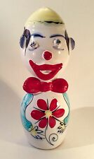 "Vintage Mid Century Italian Hand Painted Earthenware Clown Coin Bank~8.5"" H~EUC"