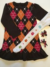 Gymboree Fall Homecoming Girls 3T Brown ARGYLE Ruffle Sweater DRESS TIGHTS HAIR