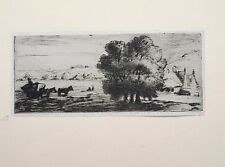 David Charles Read (1790-1851) Etching. Landscape of a farm scene, horse & cart.