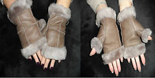 LADIES GENUINE SHEEPSKIN MINK BROWN LEATHER FINGERLESS GLOVES MITTENS XMAS GIFTS