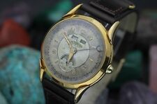 Vintage ULTRAMAR 19 Jewel Triple Date Moon Phase Gold Plaque Men's Dress Watch