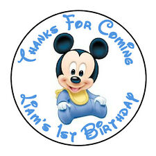 """24 PERSONALIZED BABY MICKEY MOUSE BIRTHDAY PARTY FAVOR LABELS STICKERS 1.67"""""""