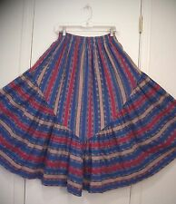2 Tiered HAND WOVEN Mid-Weight COTTON Guatemalan Boho Western Peasant Skirt M