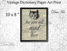 Alice in wonderland cat vintage dictionary print wall art collage decor UNFRAMED