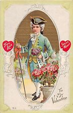 C26/ Valentine's Day Love Holiday Postcard c1910 Well-Dressed Man Cupids 16