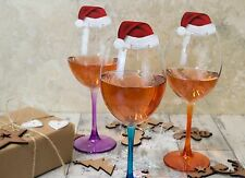 10 SANTA Hat wine glass decorations - Christmas table Place Name Cards