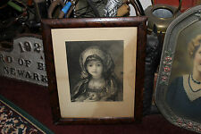 Antique Engraving Girl Holding Apple-Zeira-S Cousins-Charles Taber & Co.-Framed