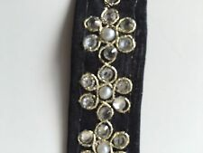 ATTRACTIVE INDIAN PEARL and SILVER FLORAL FABRIC LACE TRIM (BLACK -SOLD by METER