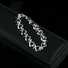 New Women Lady Fashion Silver Heart String Charm Chain Bracelet Bangle BY