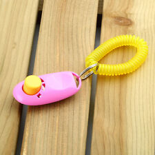 Dog Pet Click Clicker Training Obedience Agility Trainer Aid Wrist Strap 0+