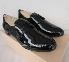 NIB Prada Black Patent Leather Lace-Up Oxford Flat Shoe Sz 40/10
