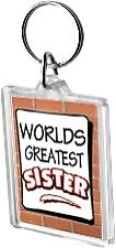 Worlds Greatest Sister Acrylic Keyring Key Ring Range Sis World
