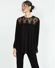 BNWT ZARA  BLACK GUIPURE FLOWING LACE BLOUSE TOP SZ S UK 8-10 US 4-6