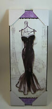 Fashion Design Diva Black Dress Eiffel Tower Wine Glass Bottle Chic Wall Sign