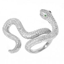 925 STERLING SILVER COBRA RING W/ ACCENTS/ RING DIMENSION 28MM BY 5MM / SZ 6 - 9