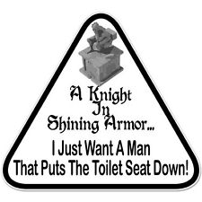 Knight in Shining Armor Toilet Seat Funny Adult Rude car bumper sticker decal 4""