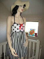 Black,White,Red Stars,Stripes  Mini Dress,Goth,Lolita
