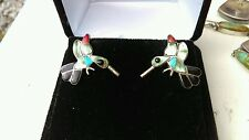 ANTIQUE ZUNI HUMMINGBIRD STERLING SILVER TURQUOISE GASPEITE ONYX EARRINGS