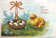 1908*Pretty Victorian Post Card*Embossed*Chick*Easter Basket*Eggs*Cute*Wishes