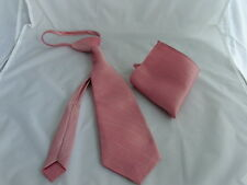 Dusky Pink Boys/Teens Pre-knotted Tie & Hanky Set-Noose knot-Fits 6 - 16 Years +
