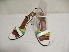 Vintage Sandals Size 7 S  1965- 1976 Multi Color Leather Bandolino Made Italy