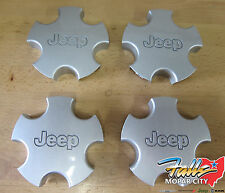 2001-04 Jeep Grand Cherokee Silver Wheel Center Hub Cap Cover Set of 4 Mopar OEM
