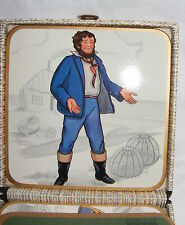 Vintage Win-el-Ware Square Coaster Set of 6 Characters w Case Made in England