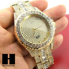 Gold Iced Out Lab Diamond Crystal Round Techno Pave Bracelet Luxury Watch GW220