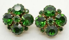 Vintage Weiss Emerald Green Rhinestone Clusters Clip Earrings Signed