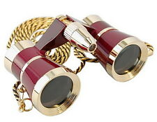 HQRP Burgundy Opera Glasses with Gold Trim & Necklace Chain