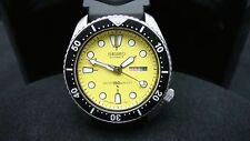 Vintage Seiko divers watch 6309 Auto DAY Date Mod YELLOW DIAL BLACK BEZEL H91.