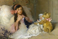 VINTAGE GIRL BED ANTIQUE DOLL TEDDY BEAR CROCHETING CANVAS ART PRINT