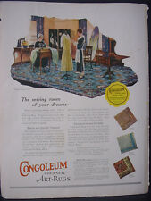 1925 Congoleum Gold-Seal Art-Rugs Carpet Full Color Vintage Print Ad 11797