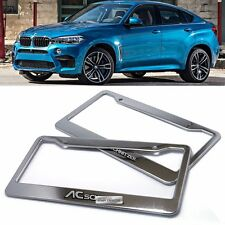 License Plate Stainless Chrome Frame AC SCHNITZER Hairline Emblem 2P for BMW Car