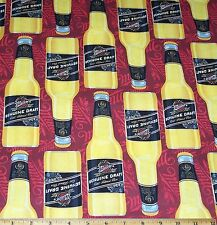 Miller Genuine Draft Beer Fabric by Yard Bottles 100% cotton