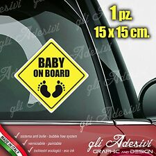 Adesivo Stickers Auto Moto Camper BABY ON BOARD segnale a bordo Piedini