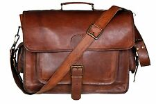 Mens Genuine Leather Vintage Laptop Shoulder Briefcase Messenger Bag Satchel NEW
