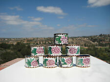 VINTAGE BEAUTIFUL 8 CHINESE BRASS CLOISONNE NAPKIN RINGS  LOT FLORAL DESIGN