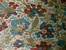 Antique 19thc French Indienne Kilim Floral Cotton Fabric  #1 ~ Blue Wine Sage