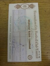 21/01/1971 Birmingham City: Official Club Cheque, Used/Cashed - Signed By Secret