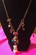 BETSEY JOHNSON Candyland Gummy Bear Flower Charm Gold-Tone Y Necklace NWT!!